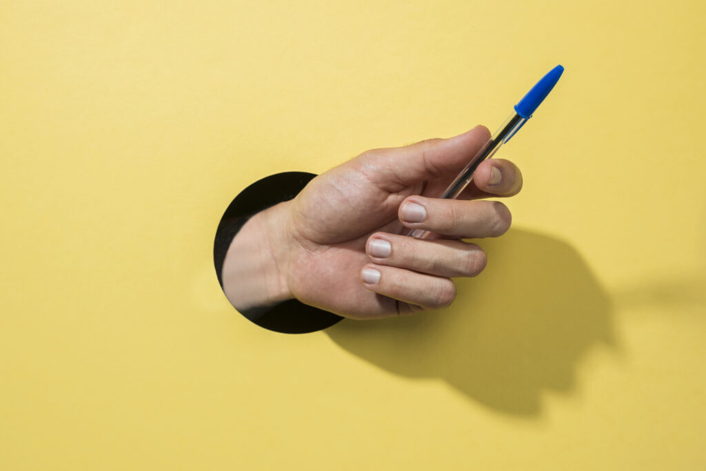 pen in the hand